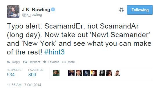 """""""Alerta de typo: ScamandEr, não ScamandAr (dia longo). Agora retire """"Newt Scamander"""" e """"New York"""" e veja o que você consegue fazer com o resto! #hint3"""""""