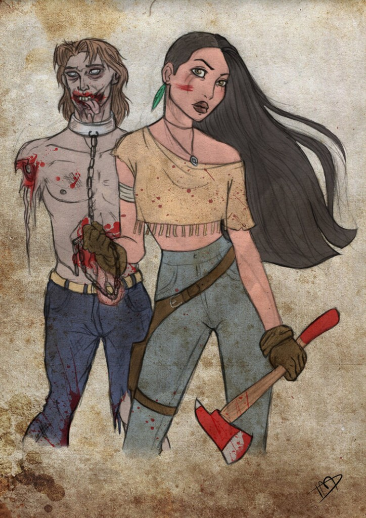 Pocahontas fazendo as vezes da Michonne e tendo seu próprio zombie-pet (John Smith)