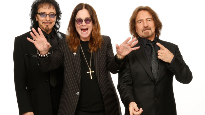 LOS ANGELES, CA - JANUARY 26:  (L-R) Musicians Tony Iommi, Ozzy Osbourne and Geezer Butler of Black Sabbath pose for a portrait in the CBS/GRAMMY Awards photo gallery during the 56th GRAMMY Awards at Staples Center on January 26, 2014 in Los Angeles, California.  (Photo by Monty Brinton/CBS via Getty Images)
